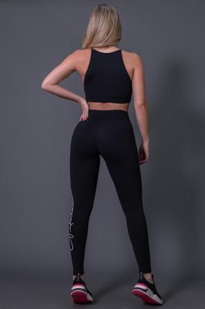 Calça Legging Poliamida com Silk Assinatura Grande (Preto / Off-White) | Ref: K2592-A