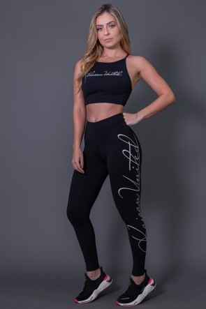 Calça Legging Fitness com Silk Assinatura Grande (Preto / Off-White) | Ref: K2592-A