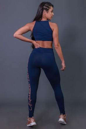 Calça Legging Poliamida  com Silk Assinatura Grande (Azul Marinho / Salmão) | Ref: K2592-B
