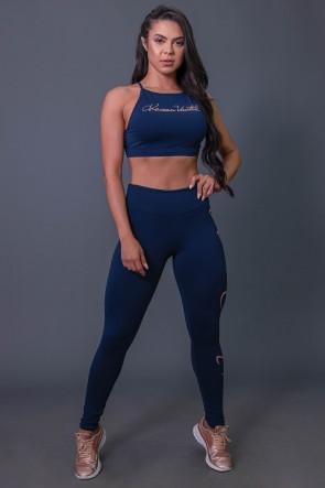 Calça Legging Fitness com Silk Assinatura Grande (Azul Marinho / Salmão) | Ref: K2592-B