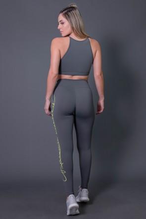 Calça Legging Poliamida com Silk Assinatura Grande (Cinza Escuro / Verde Fluor) | Ref: K2592-C
