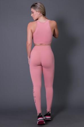 Calça Legging Poliamida com Silk Assinatura Grande (Mergê / Preto) | Ref: K2592-D