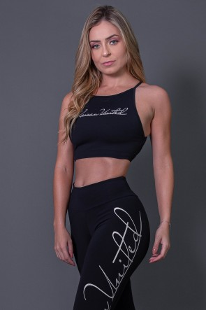 Top Fitness Transpassado com Silk Assinatura (Preto / Off-White) | Ref: K2593-A