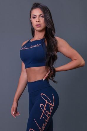 Top Fitness Transpassado com Silk Assinatura (Azul Marinho / Salmão) | Ref: K2593-B