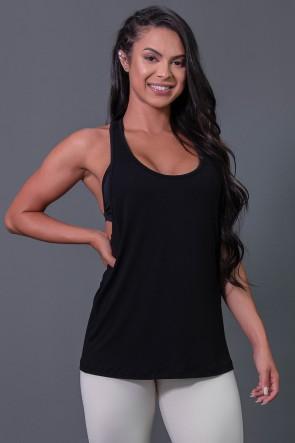 Camiseta Fitness com Detalhe de Elástico e Silk Love e Love (Preto / Branco) | Ref: K2595-A