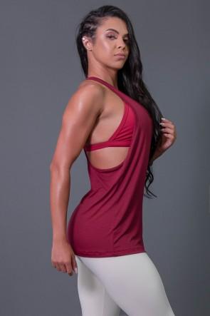 Camiseta Fitness com Detalhe de Elástico e Silk Love e Love (Vinho / Branco) | Ref: K2595-C
