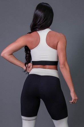 Cropped Fitness Nadador com Silk (Off-White / Preto) | Ref: K2683-A