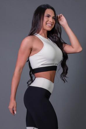 Cropped Fitness Nadador com Silk (Off-White / Preto) | Ref: K2683-A