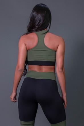 Cropped Fitness Nadador com Silk (Verde Militar / Preto) | Ref: K2683-C