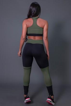 Calça Legging Poliamida com Ponto de Cobertura e Silk (Preto / Verde Militar) | Ref: K2684-C