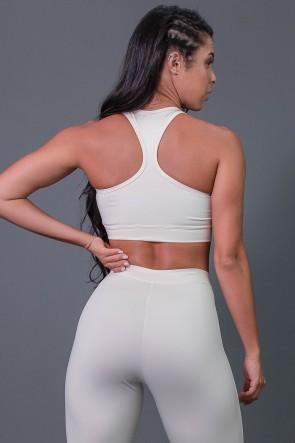 Top Fitness Nadador com Detalhe de Elástico e Silk (Off-White / Preto) | Ref: K2685-D