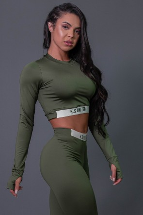Cropped Fitness Manga Longa com Silk (Verde Militar / Off-White) | Ref: K2686-C