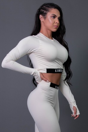 Cropped Fitness Manga Longa com Silk (Off-White / Preto) | Ref: K2686-D