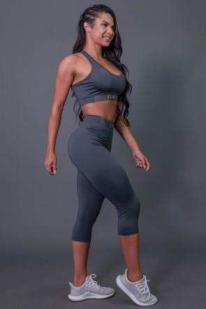 Corsário Fitness com Elástico e Silk (Cinza Escuro / Cinza) | Ref: K2687-B
