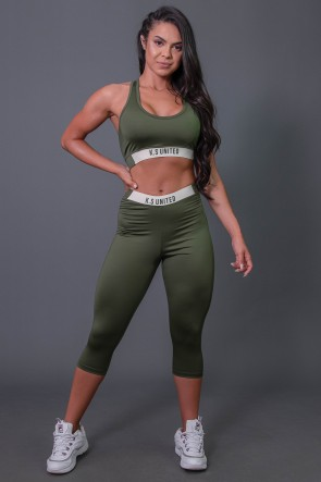 K2687-C_Corsario_Fitness_com_Elastico_e_Silk_Verde_Militar__Off-White__Ref:_K2687-C