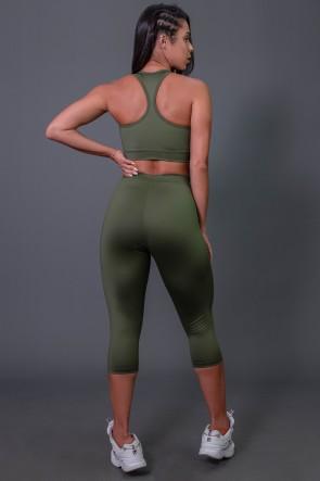 Corsário Flex com Elástico e Silk (Verde Militar / Off-White) | Ref: K2687-C