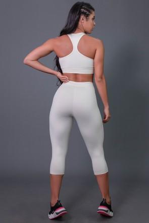 Corsário Fitness com Elástico e Silk (Off-White / Preto) | Ref: K2687-D