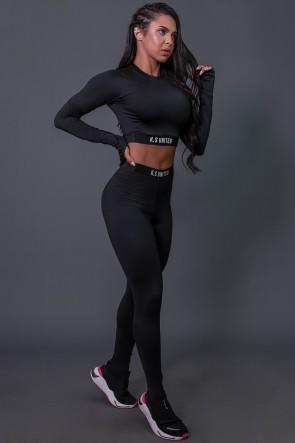 Calça Legging Fitness com Elástico e Silk (Preto / Branco) | Ref: K2688-A