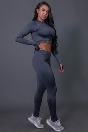 Calça Legging Fitness com Elástico e Silk (Cinza Escuro / Cinza) | Ref: K2688-B