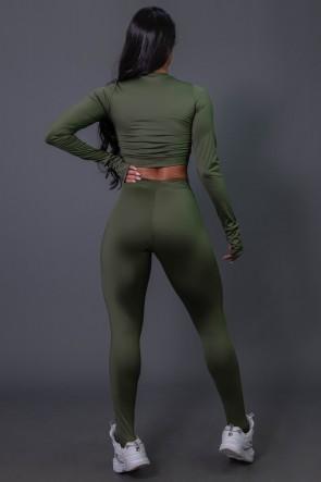 Calça Legging Flex com Elástico e Silk (Verde Militar / Off-White) | Ref: K2688-C