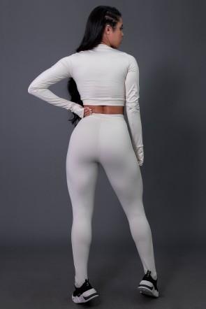 Calça Legging Flex com Elástico e Silk (Off-White / Preto) | Ref: K2688-D