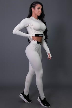 Calça Legging Fitness com Elástico e Silk (Off-White / Preto) | Ref: K2688-D