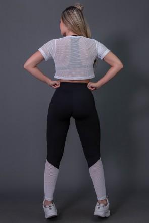 Calça Legging Fitness com Detalhe em Tela (Preto / Branco) | Ref: K2690-B