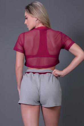 Short Moletinho com Tela e Silk (Mescla / Vinho) | Ref: K2730-C