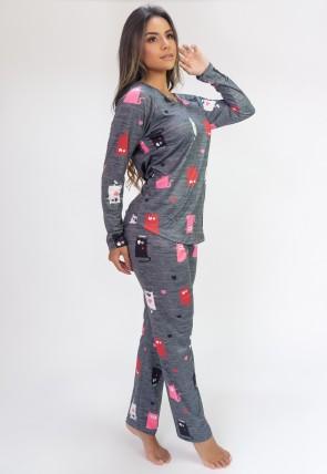 Pijama de Manga Longa Raglan Estampa Digital (Little Cats) | Ref: K2800