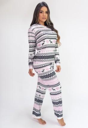 Pijama de Manga Longa com Capuz e Calça Estampa Digital (Pixel Love) | Ref: K2810