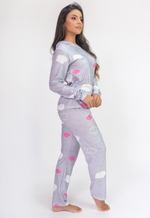 Pijama de Manga Longa com Capuz e Calça Estampa Digital (Puff Clouds) | Ref: K2813