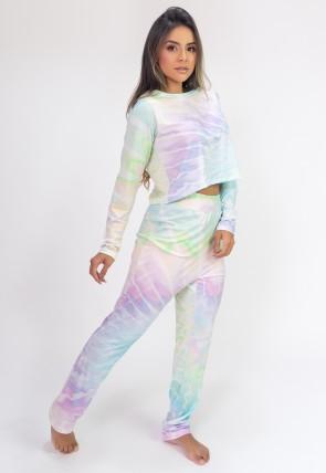 Pijama Cropped de Manga Longa e Calça Estampa Digital (Tie Dye) | Ref: K2815