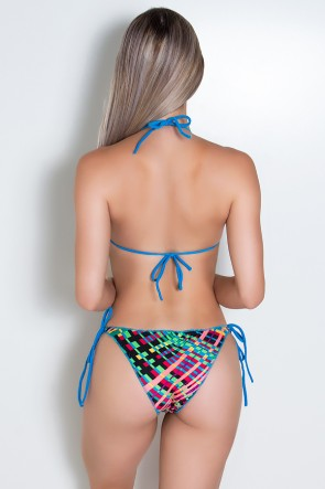 Biquini Levanta Bumbum com Calcinha Estampada (Azul Celeste / Xadrez Colorido) | Ref: DVBQ10-007