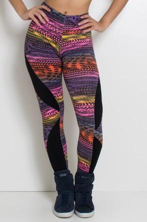 Calça Legging Naomi Estampada com Detalhe Dry Fit | Ref: F600
