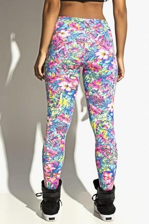 Legging Estampada Cós Baixo com Faixa (Flores Rosas com Folhas Azuis / Preto) | Ref: F1089-002
