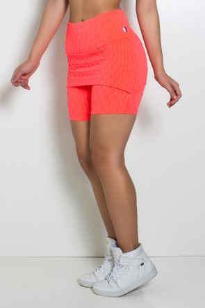 Bermuda Britney Tecido Bolha Fluor (Coral Fluor) | Ref: KS-F1892-001