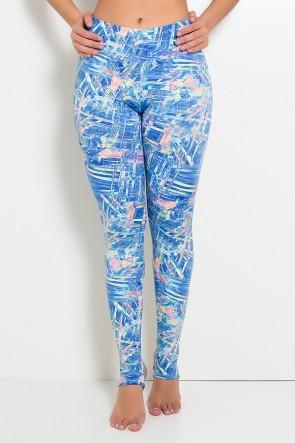 Calça Legging Estampada com Pezinho (Rabiscos Fluorescentes com Azul) | Ref: KS-F192-005