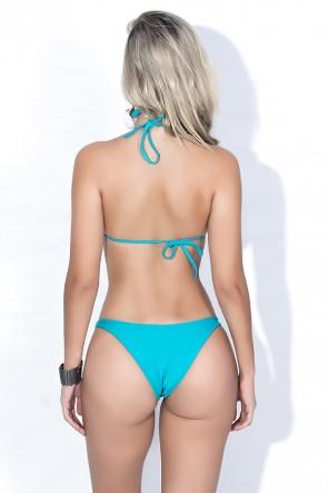 Biquini Cortininha com Calcinha Lisa (Coqueiro Verde e Azul / Verde Esmeralda) | Ref: DVBQ19-001