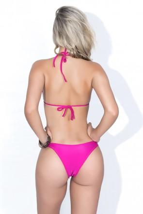Biquini Cortininha com Calcinha Lisa (Listras Amarelo Laranja e Rosa / Rosa Pink) | Ref: DVBQ19-004