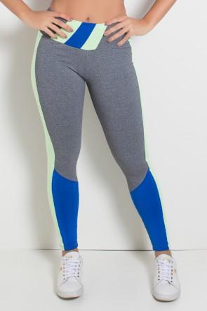 Calça Mescla com Detalhe no Cós e Perna Duas Cores (Mescla - Verde Claro - Azul Royal) | Ref: KS-F1864-001