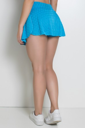 Short Saia Isabelle Tecido Bolha (Azul Celeste)   Ref: KS-F265-005