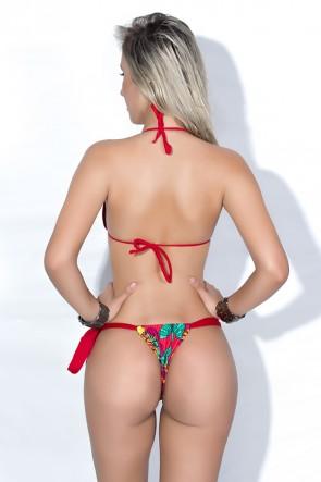 Biquini Cortininha com Calcinha Estampada Amarração Lateral (Vermelho / Vermelho com Folhas Coloridas) | Ref: DVBQ20-001