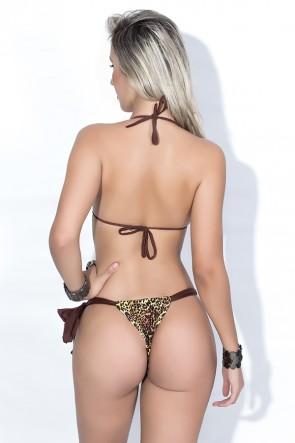 Biquini Cortininha com Calcinha Estampada Amarração Lateral (Marrom / Oncinha Amarela e Marrom) | Ref: DVBQ20-002