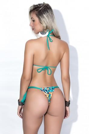 Biquini Cortininha com Calcinha Estampada Amarração Lateral (Verde Esmeralda / Azul Marinho com Flor Laranja e Amarela) | Ref: DVBQ20-004