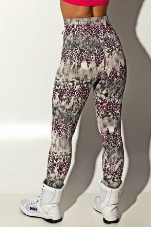 Legging Estampada Cinza com Oncinha Rosa | Ref: KS-F27-089
