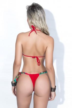 Biquini Cortininha com Calcinha Lisa Amarração Lateral (Vermelho com Folhas Colorias / Vermelho) | Ref: DVBQ21-001