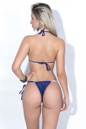 Biquini Cortininha com Calcinha Lisa Amarração Lateral (Listrado Azul Marinho e Branco / Azul Marinho) | Ref: DVBQ21-003