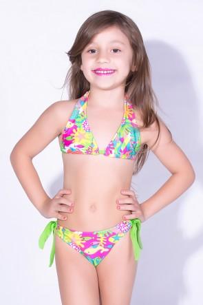 Biquini de Amarrar Estampado Infantil (Fundo do Mar Colorido) | Ref: DVBQ25-002
