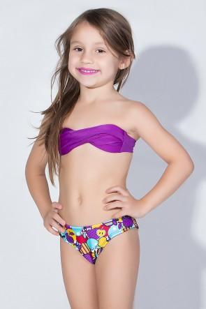 Biquini Infantil Tomara Que Caia com Calcinha Estampada (Roxo / Frutas Roxas e Vermelhas) | Ref: DVBQ28-004