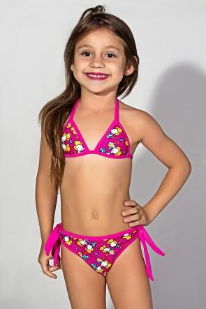 Biquini Infantil Estampado com Bojo (Rosa com Ratinhos Amarelos) | Ref: DVBQ29-003